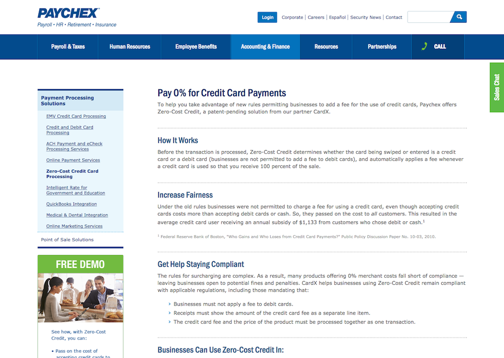 Screenshot of the Paychex website, featuring an article titled