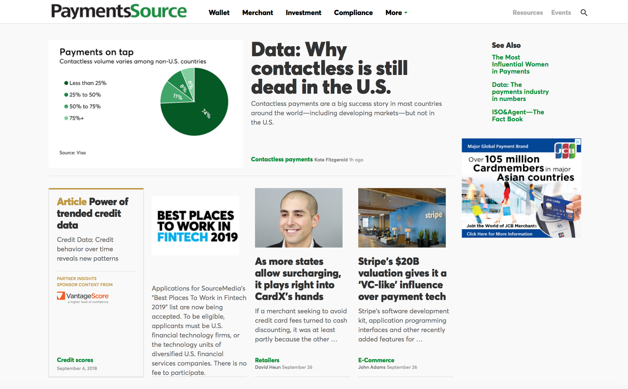 Screenshot of the front page of PaymentSource on September 27, 2018, featuring the article on CardX linked to below.